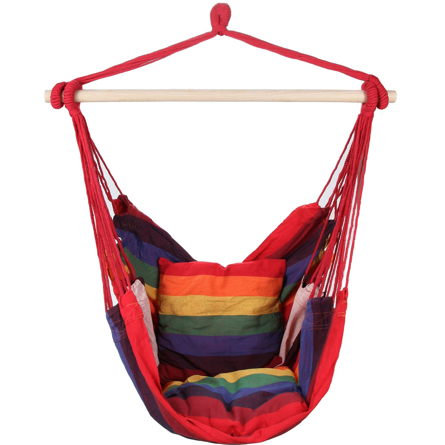 swingasan chair with red strap and colorful cushion ideas