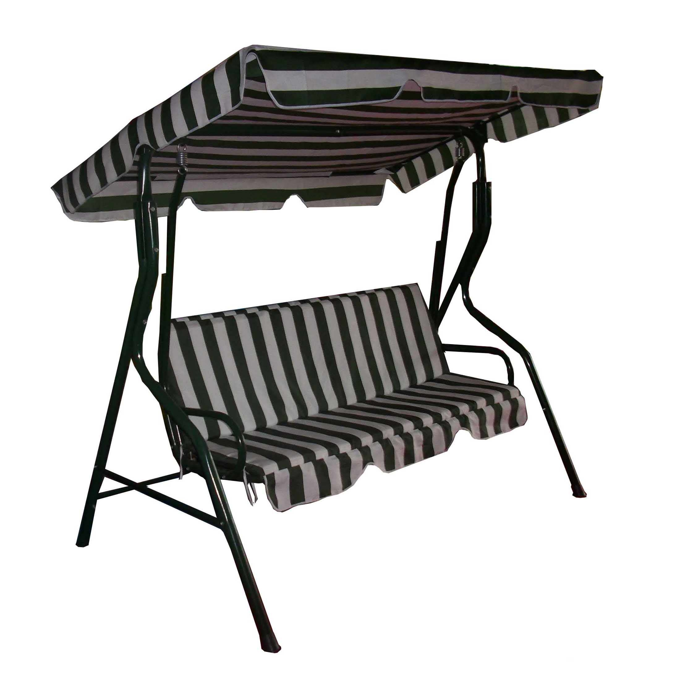 swingasan chair with stripped pattern seat and roof plus black iron legs ideas