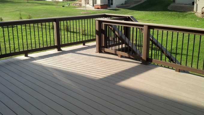 Tan Azek Decking Plus Brown Wood Railing Plus And Stairs For Deck Ideas