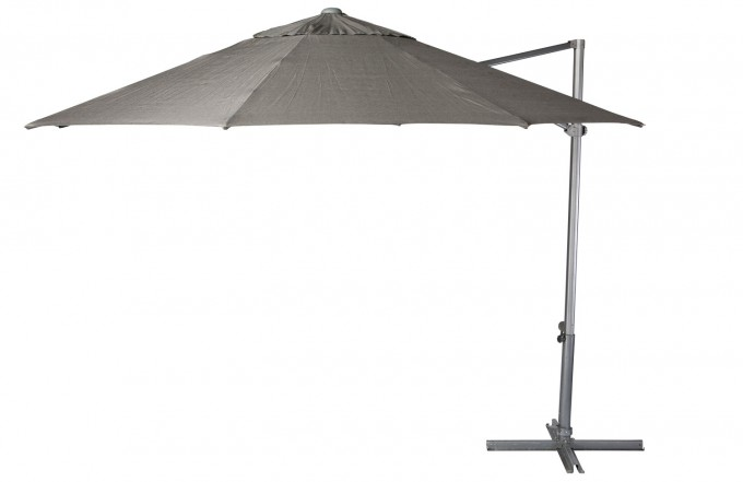 Tan Cantilever Umbrella With Metal Stand For Patio Furniture Ideas