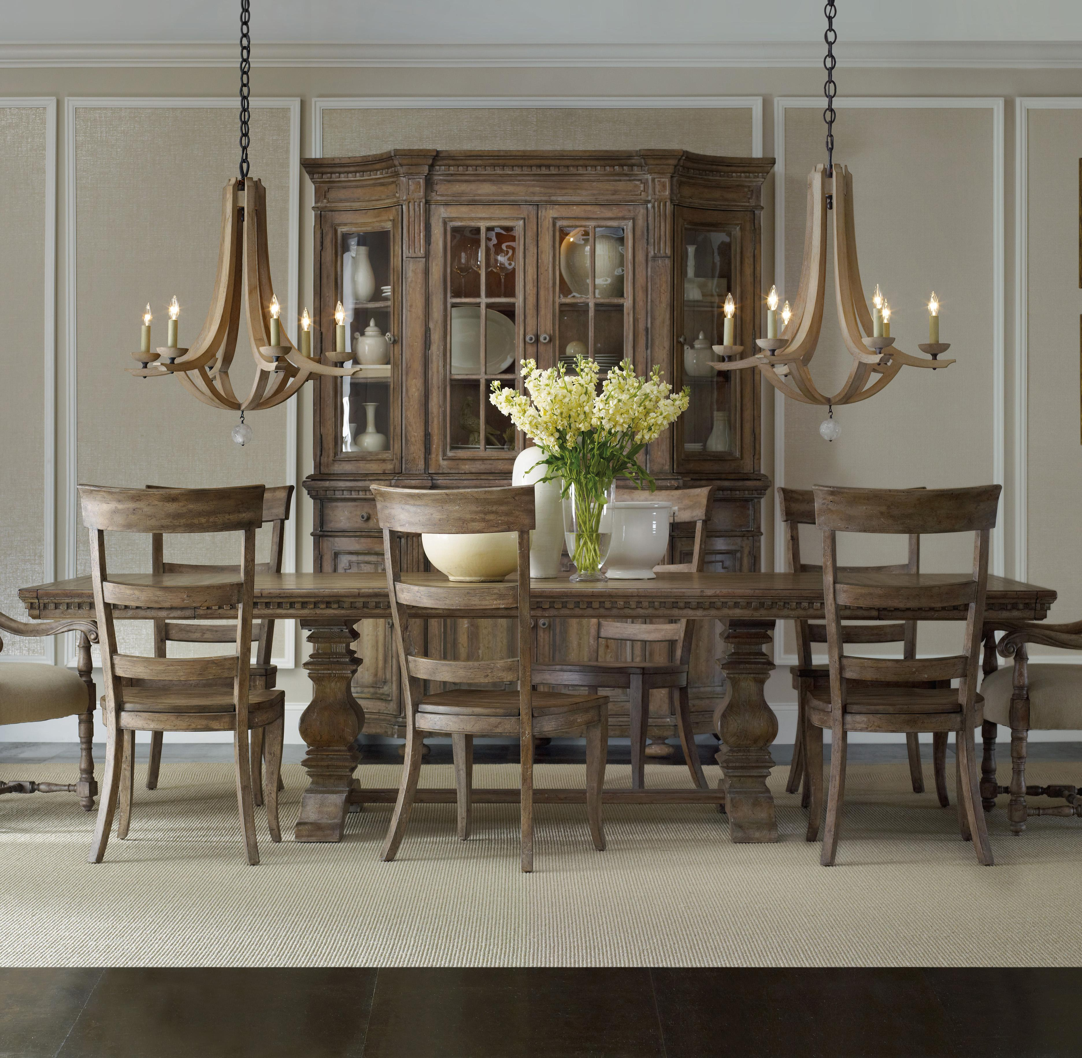 tan dining table by sprintz furniture plus tan cabinet and chandelier for dining room ideas