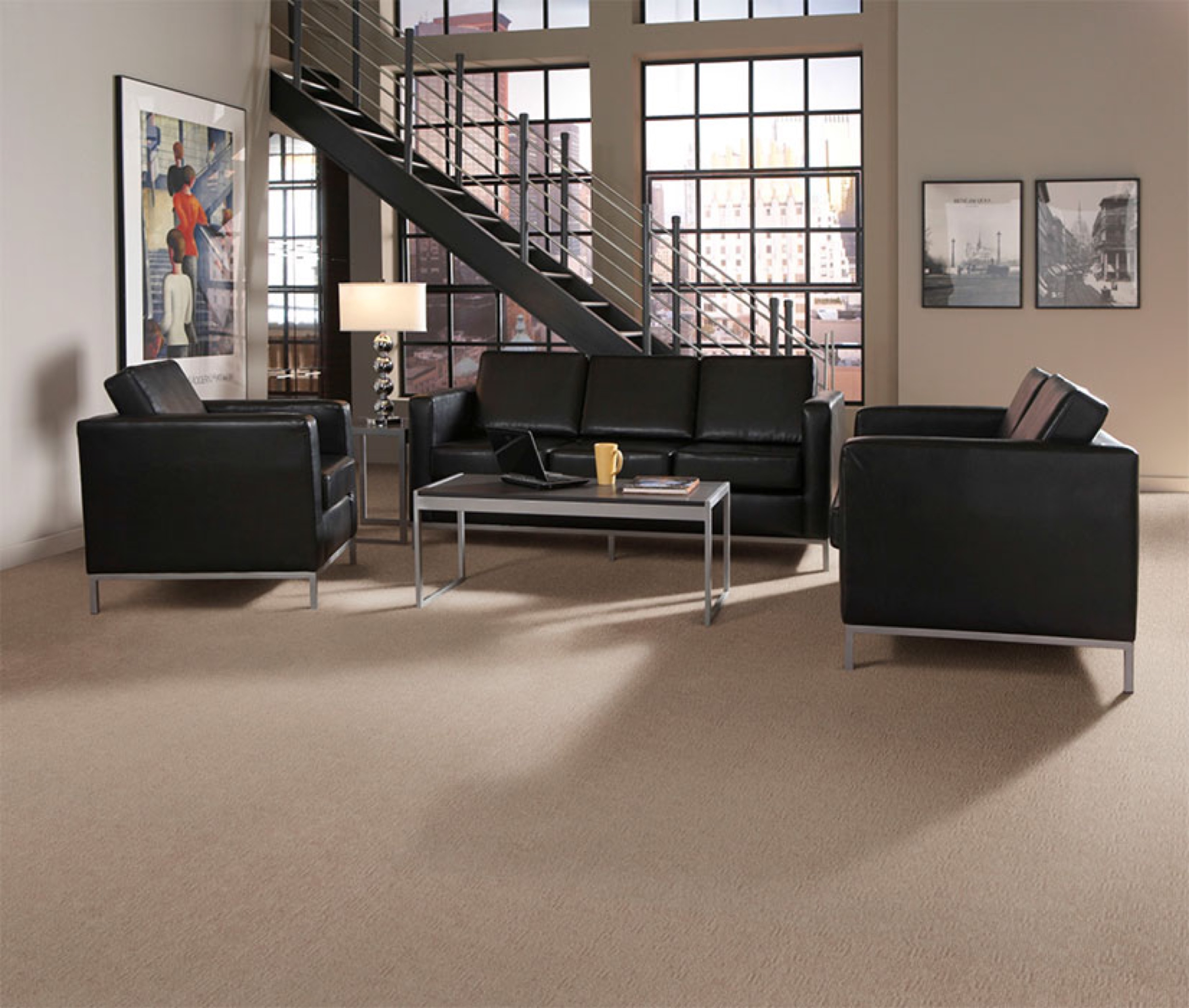 tan solid masland carpet with black sofa set plus floor standing lamp for living room ideas