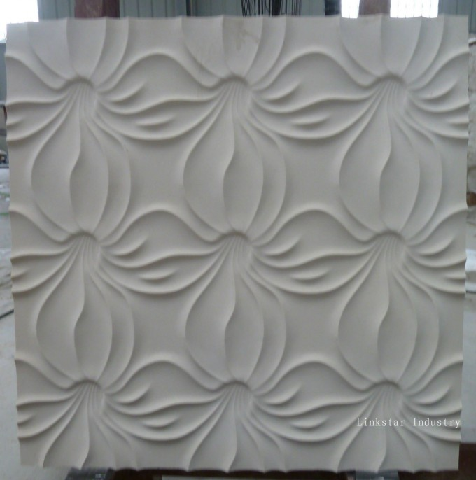 Textured Wall Panels With Floral Motifs In White For Lovable Wall Ideas