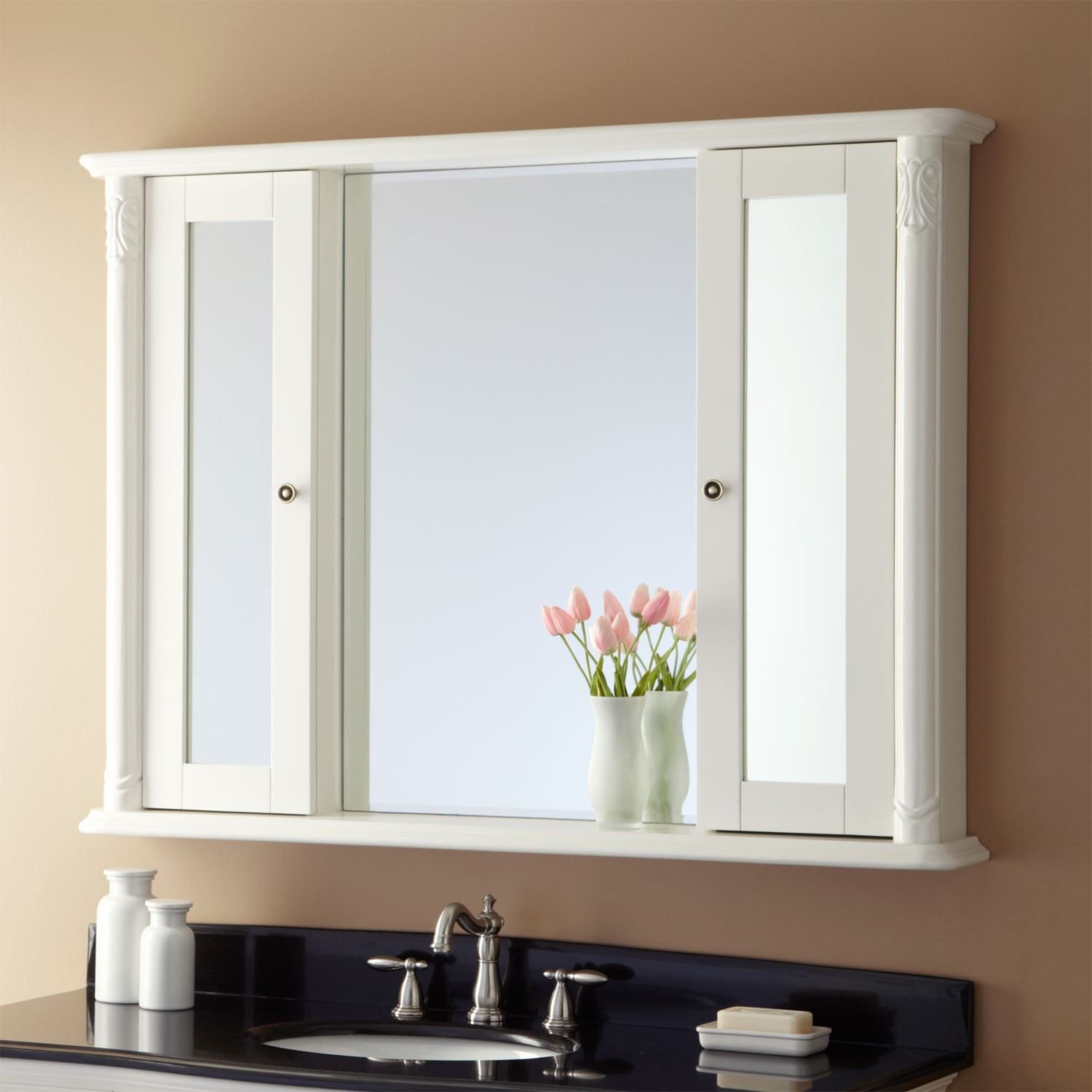 Bathroom Lowes Medicine Cabinets With Mirror White Wall With Lamp
