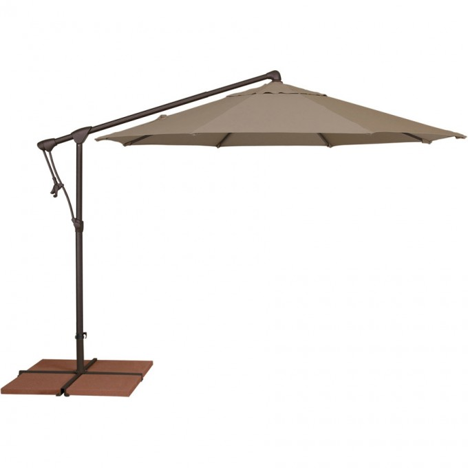 Treasure Garden Octagonal Cantilever Umbrella In Brown With White Stand For Patio Furniture Ideas