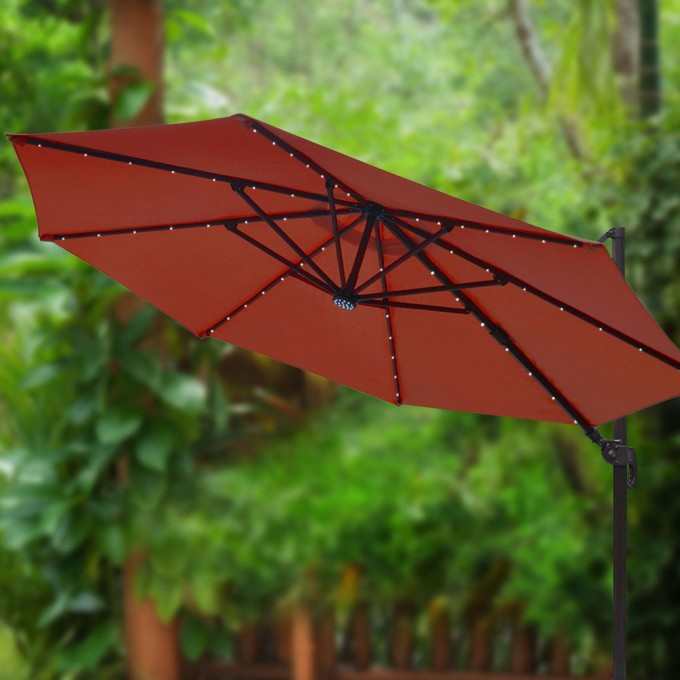 Ultimate 11 5 Ft Solar Cantilever Umbrella In Red With Black Stand For Patio Furniture Ideas