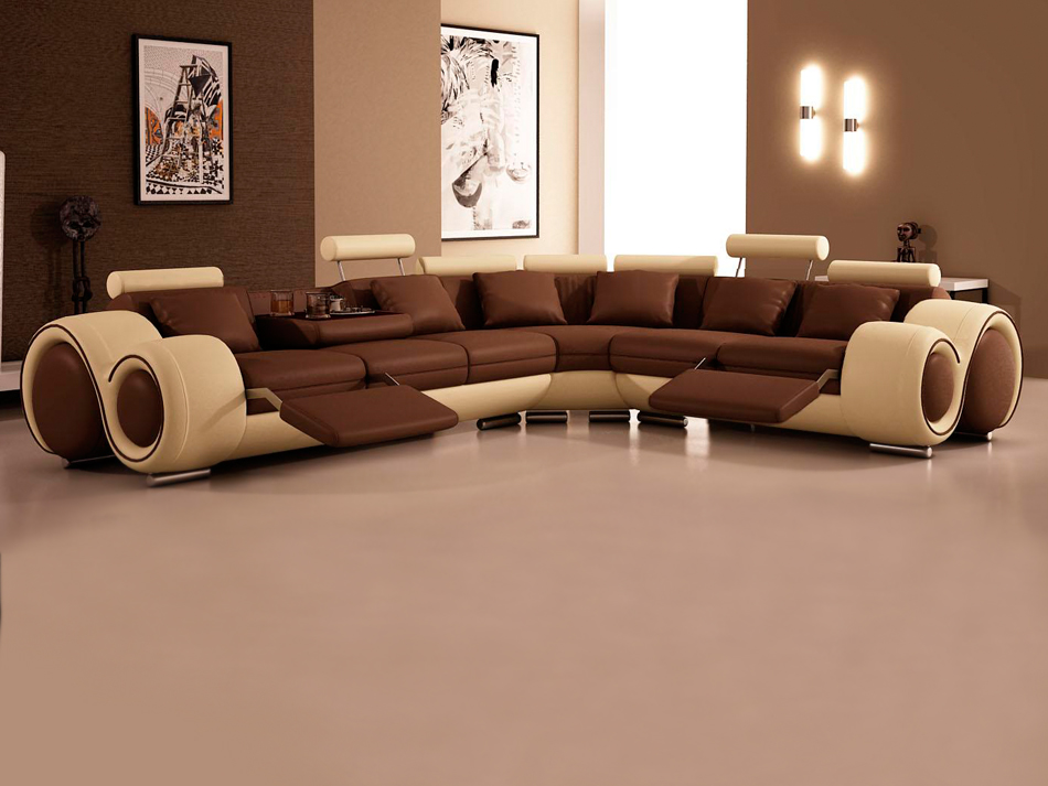 ultra modern sectional couches in brown and cream theme with leg stand for smart furniture ideas