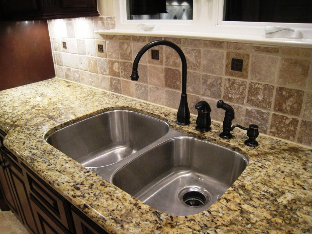Unique Black Kitchen faucet direct matched with silver sink and tan countertop ideas