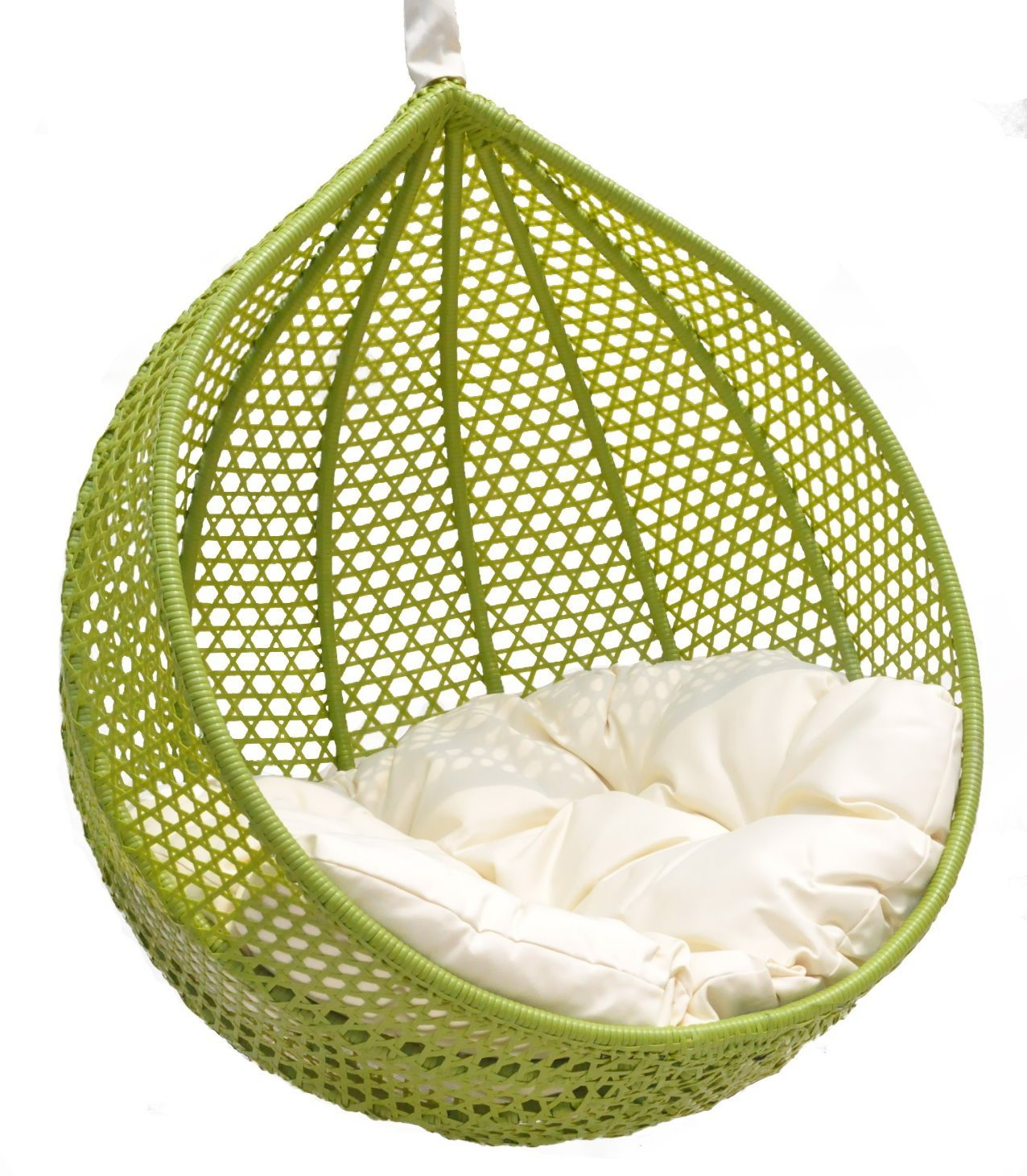 unique lime swingasan chair with white cushion ideas