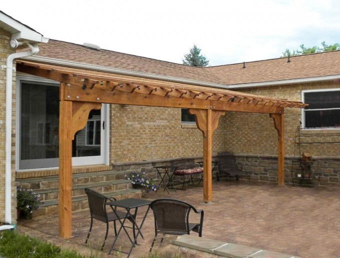 Very Elegant Pergola Plans Attached To House With Black Chairs And Table Ideas
