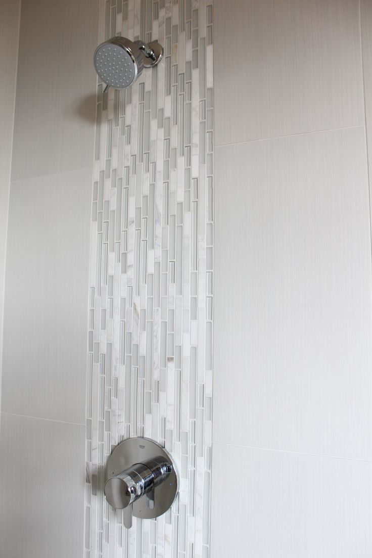 waterfall detail in master shower Emser tile 12x24 strands