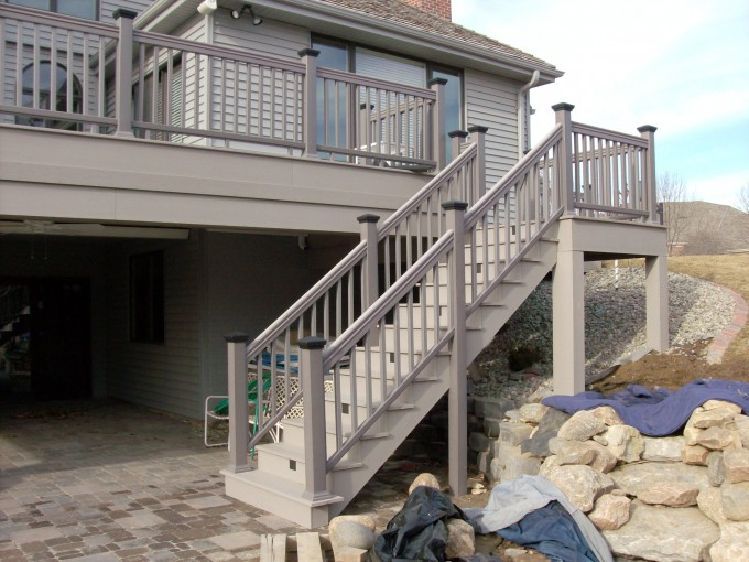 Wheat Azek Decking And Darkgray Railing Plus Stairs Ideas