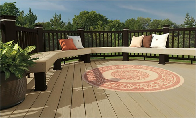 Wheat AZEK Decking Plus Lounger With Cushions And Round Carpet For Deck Ideas