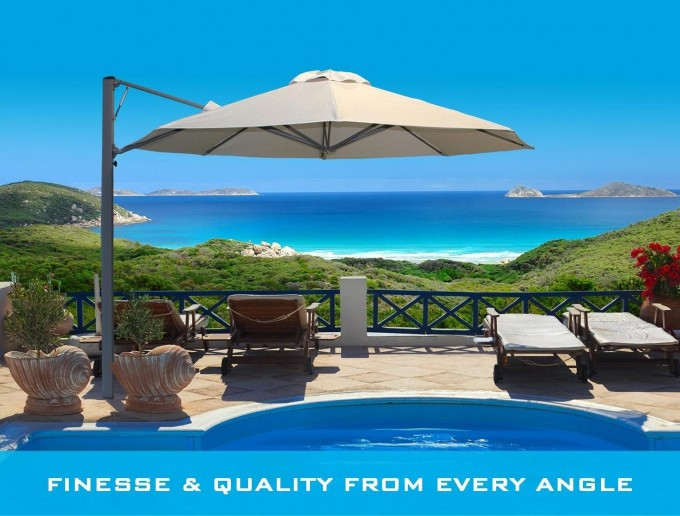 Wheat Cantilever Umbrella Plus Sofa Set On Patio Plus Beautiful View