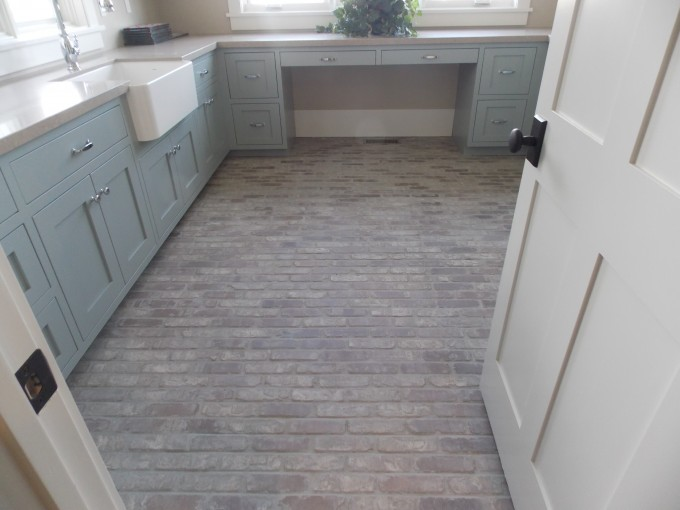 Wheat Flooring By Cancos Tile Matched With Kitchen Cabinet Plus Ink For Kitchen Decoration Ideas