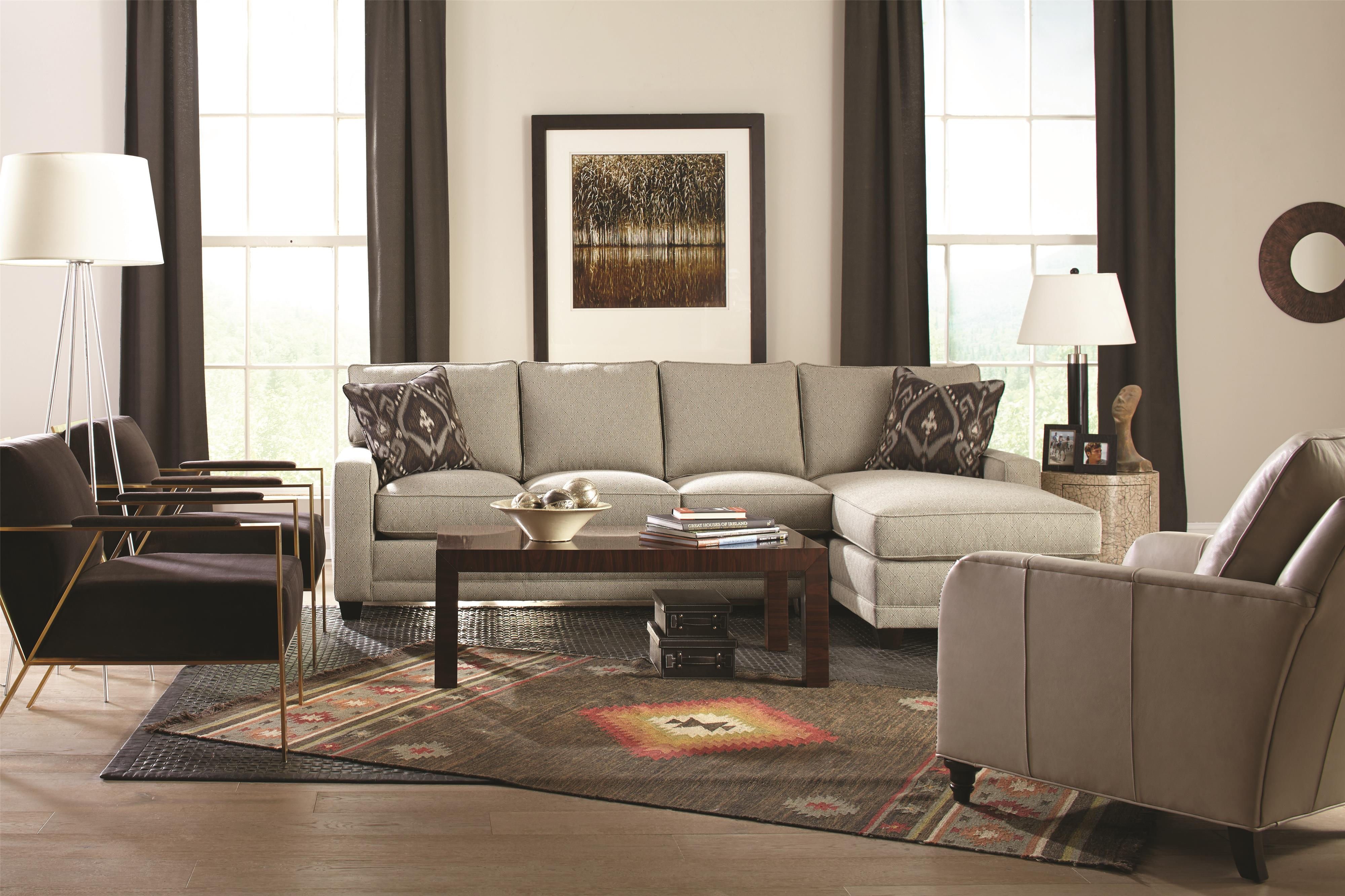 wheat sofa by Sprintz Furniture with brown cushions and carpet plus table standing lamp