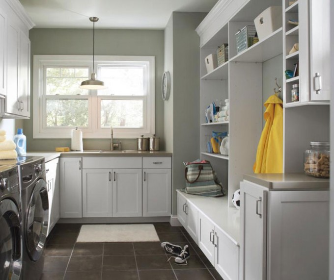 White Aristokraft Cabinets With Sink And Shelves Plus Washer For Laundry Room Ideas