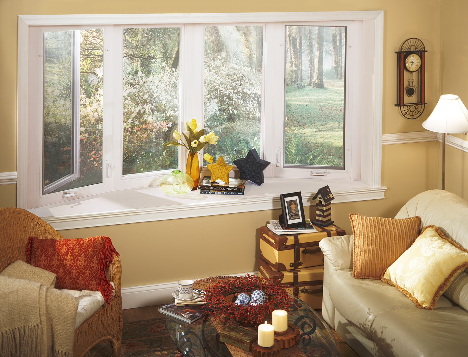 white bay pella windows matched with moccasin wall plus sofa set for living room ideas