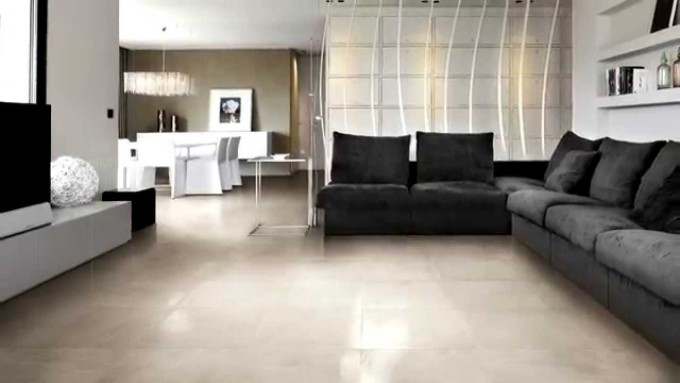 White Cancos Tile Matched With White Wall Plus Black Sofa Plus Tv For Family Room Decor Ideas