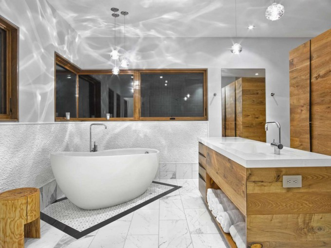 White Cancos Tile Matched With White Wall Plus White Bath Up And White Sink Plus Faucet For Bathroom Decoration Ideas