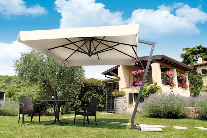 White CANTILEVER UMBRELLA With Black Stand Plus Sofa Set For Back Yard Ideas
