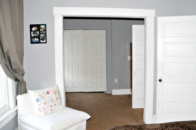 White Folding Closet Doors Ideas With Grey Wall And Brown Ceramics Floor Plus White Sofa For Smart Decor Ideas