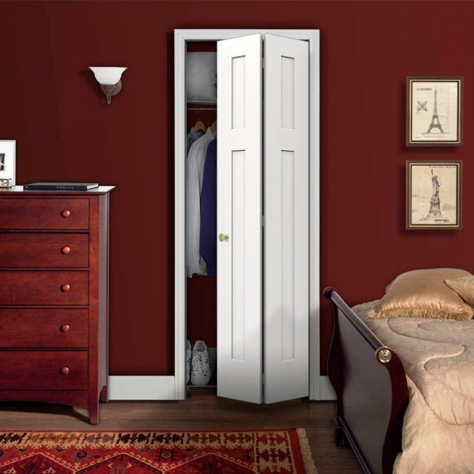 White Folding Closet Doors With Lamp On Red Wall Plus Red Dresser And Bedding Plus Red Carpet For Bedroom Ideas