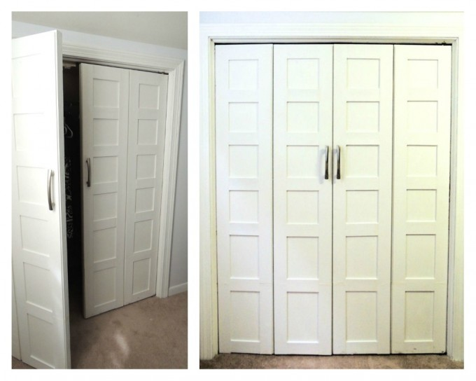White Folding Closet Doors With Silver Handle On White Wall Plus Ceramics Floor