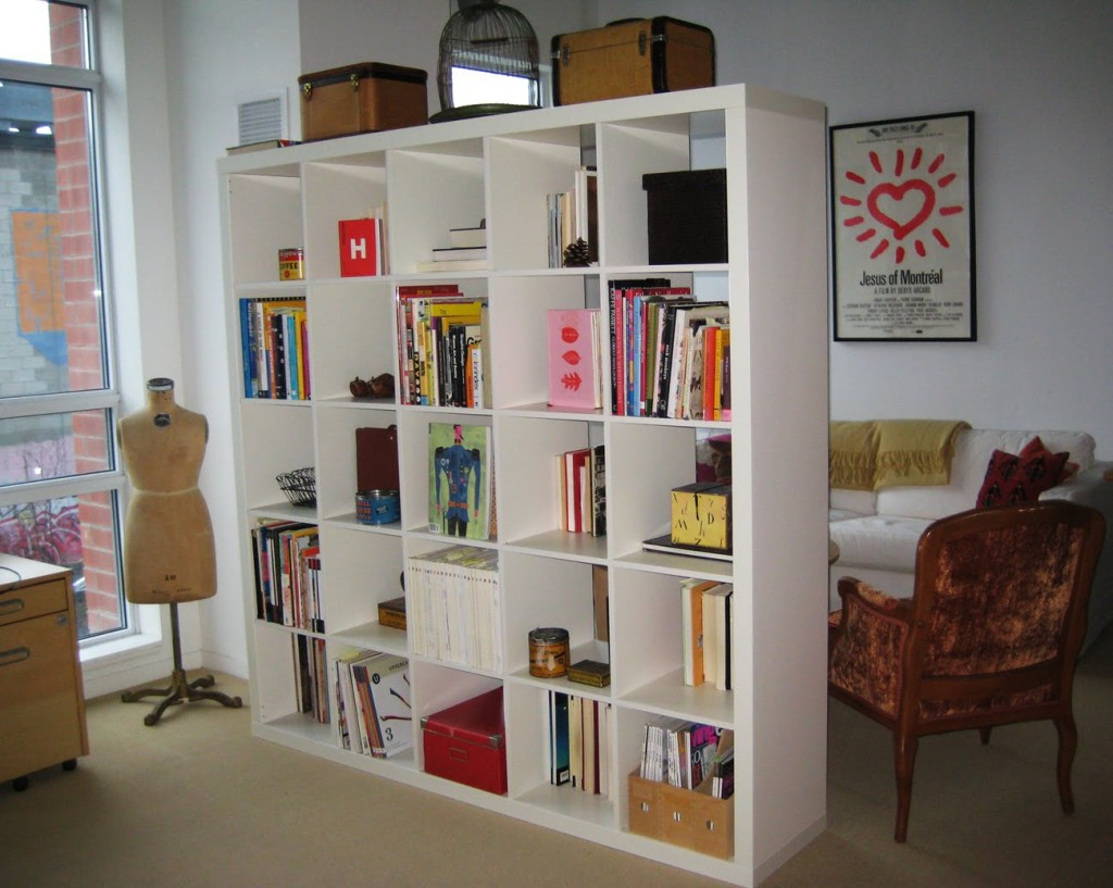 white Ikea Expedit Bookcase filled books with boxes above ideas with white wall and cream floor
