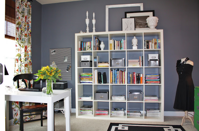 White Ikea Expedit Bookcase Filled With Books With Frames Above Ideas With Grey Wall And White Ceiling Plus White Table