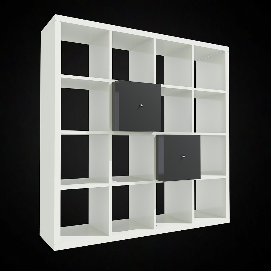 White Ikea Expedit Bookcase With Double Grey Drawers For Charming Furniture Ideas