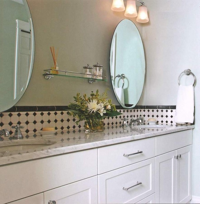 White Kitchen Cabinet Refacing With Double Sink Plus Two Oval Mirror