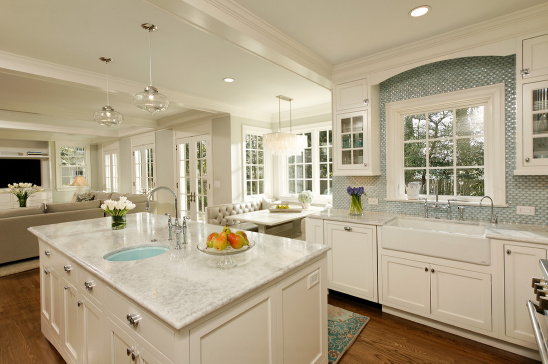 white kitchen Cabinet Refacing with sink plus kitchen faucet with white window and chandelier