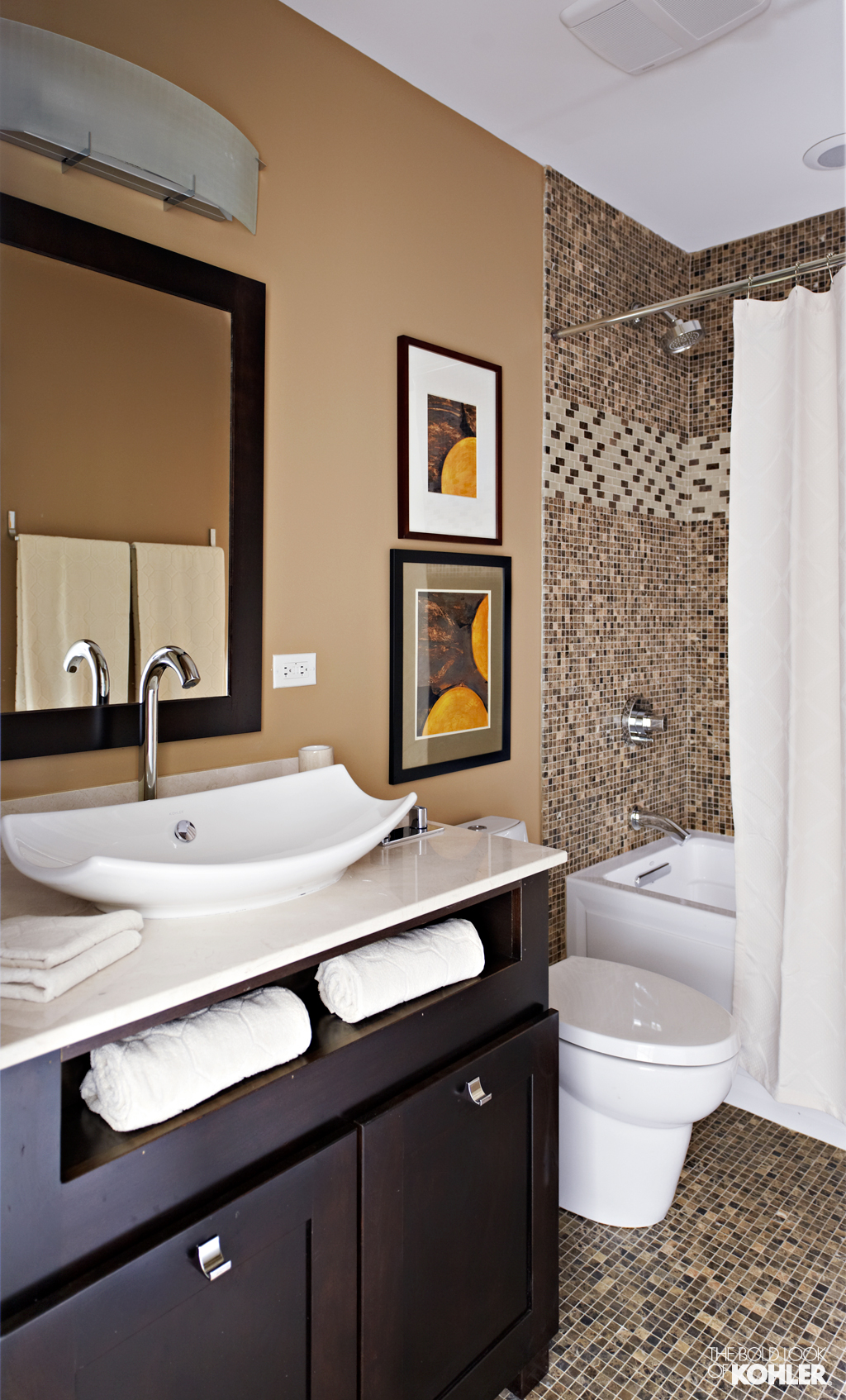 white kohler sinks and silver faucet plus mirror with black frame plus bath up and cabinet for bathroom ideas