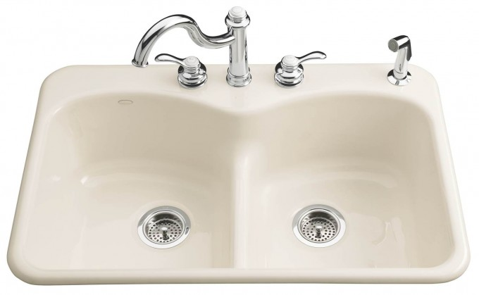 White Kohler Sinks And Silver Faucet With Curved Neck Ideas