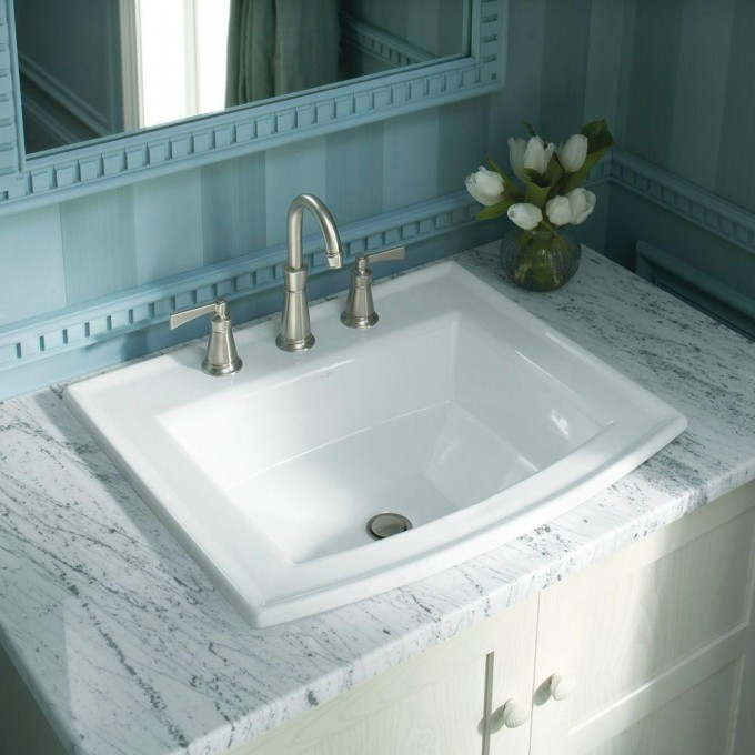 White Kohler Sinks And Silver Faucet With Double Handle Plus Mirror On Vertikal Stripped Wall For Bathroom Decor Ideas