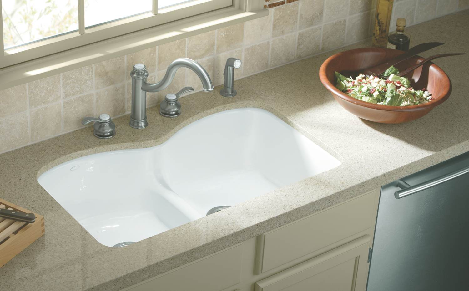 white kohler sinks and silver kitchen faucet before the white window ideas