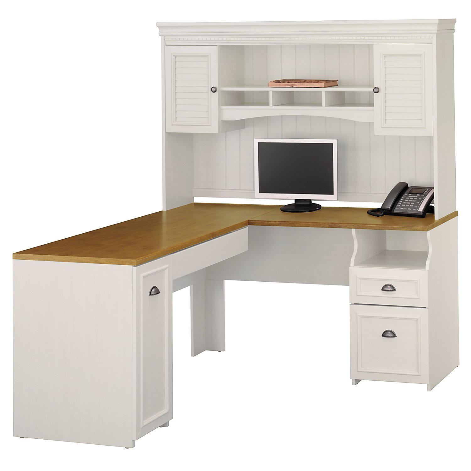 white L Shaped Desk with hutch and sorage with black handle ideas plus computer set and phone