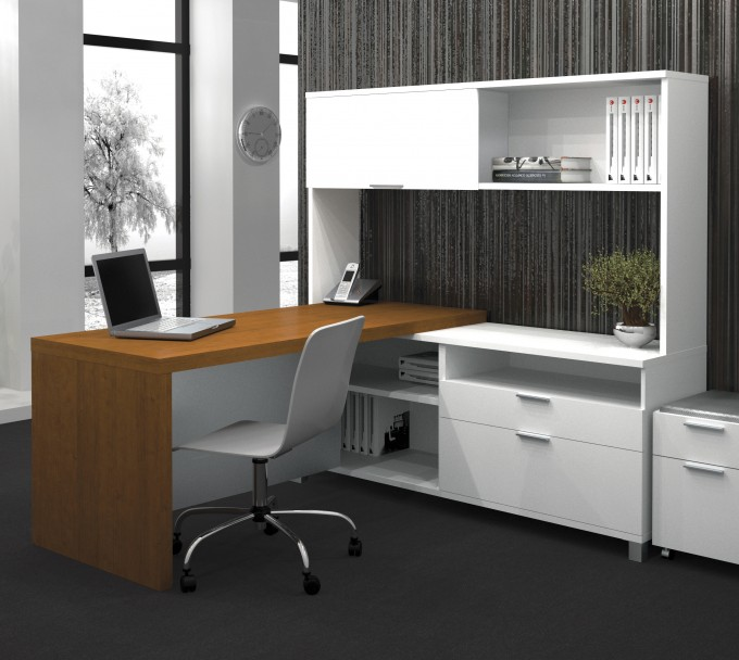 White L Shaped Desk With Hutch Plus Chair On Gray Floor And Gray Wall