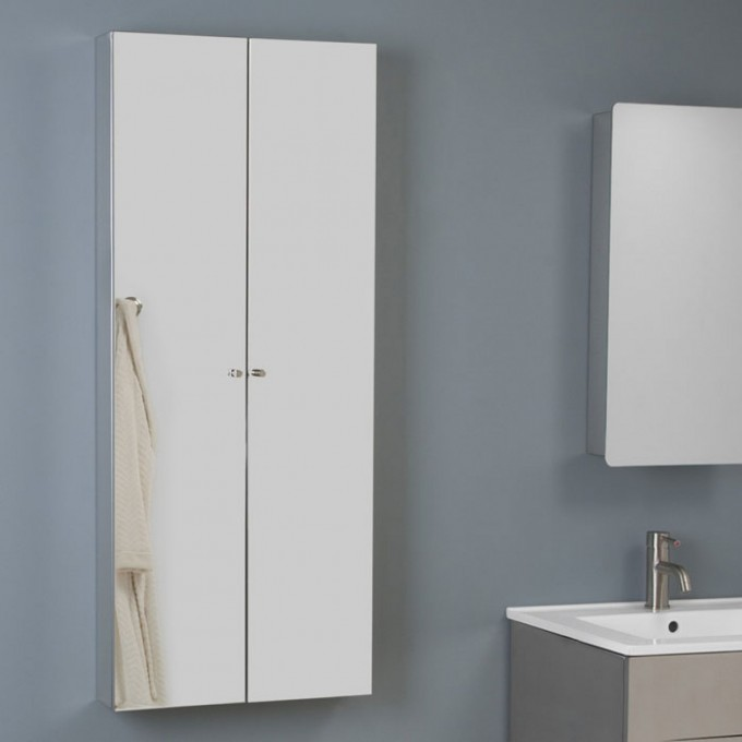 White Lowes Medicine Cabinets On Gray Wall Plus White Sink With Silver Faucet