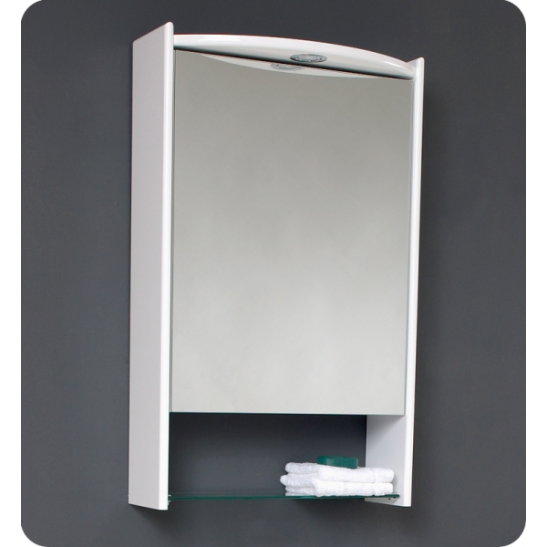 white lowes Medicine Cabinets with mirror and single lamp on gray wall
