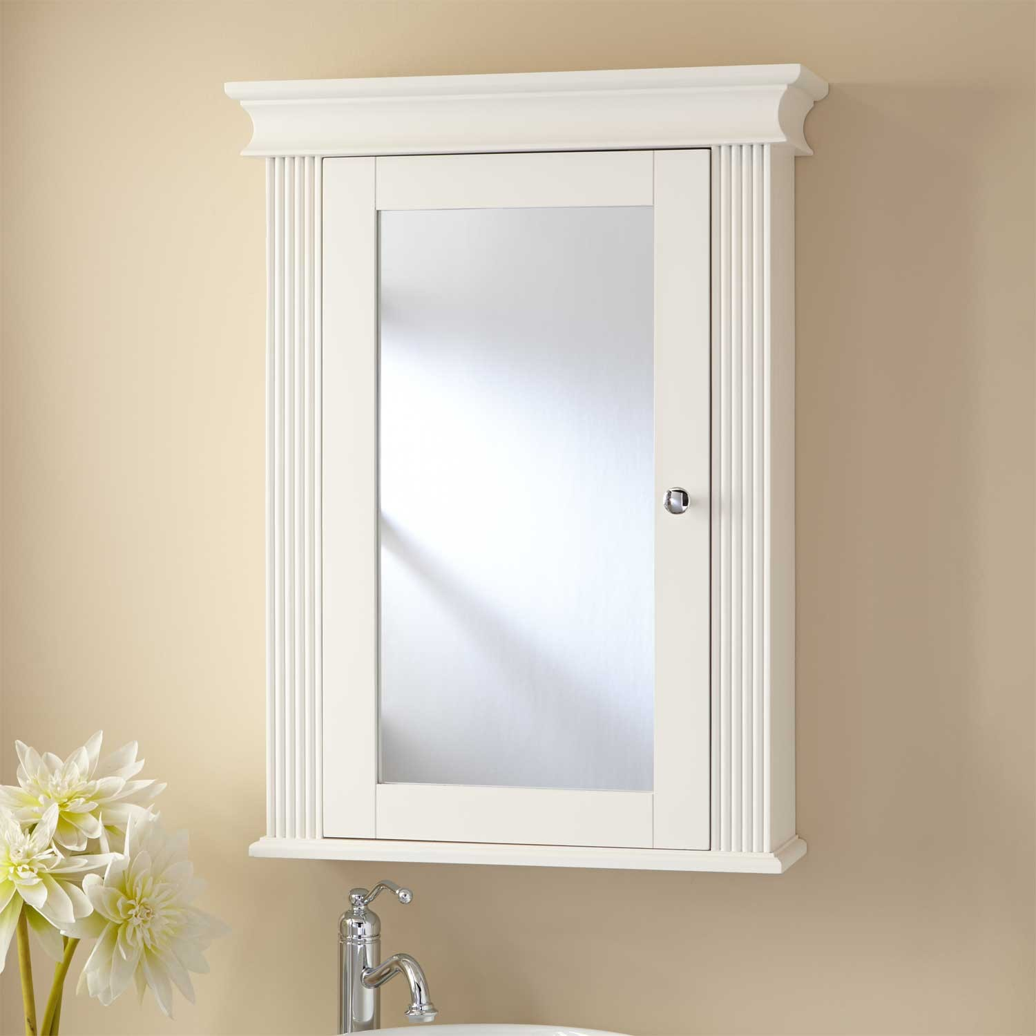 white lowes Medicine Cabinets with mirror on wheat wall plus sink and silver faucet