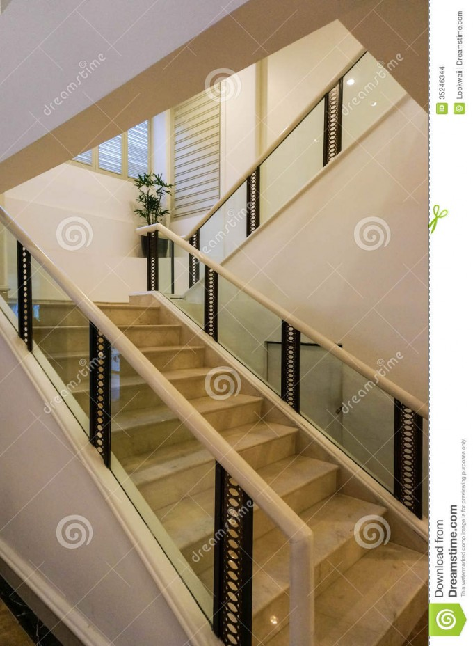 White Marble Handrails For Stairs With Glass Ideas With White Wall And Cream Window