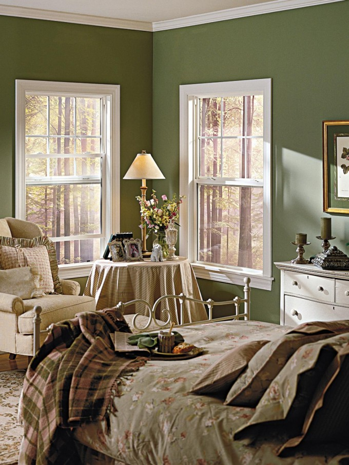 White Pella Windows Matched With Green Olive Wall Plus Bedding And Table Standing Lamp For Bedroom Design Ideas