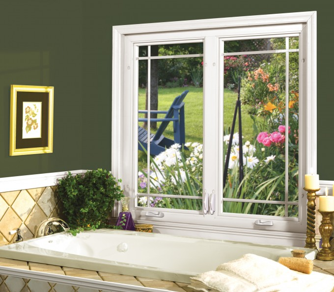 White Pella Windows Matched With Green Wall Ideas