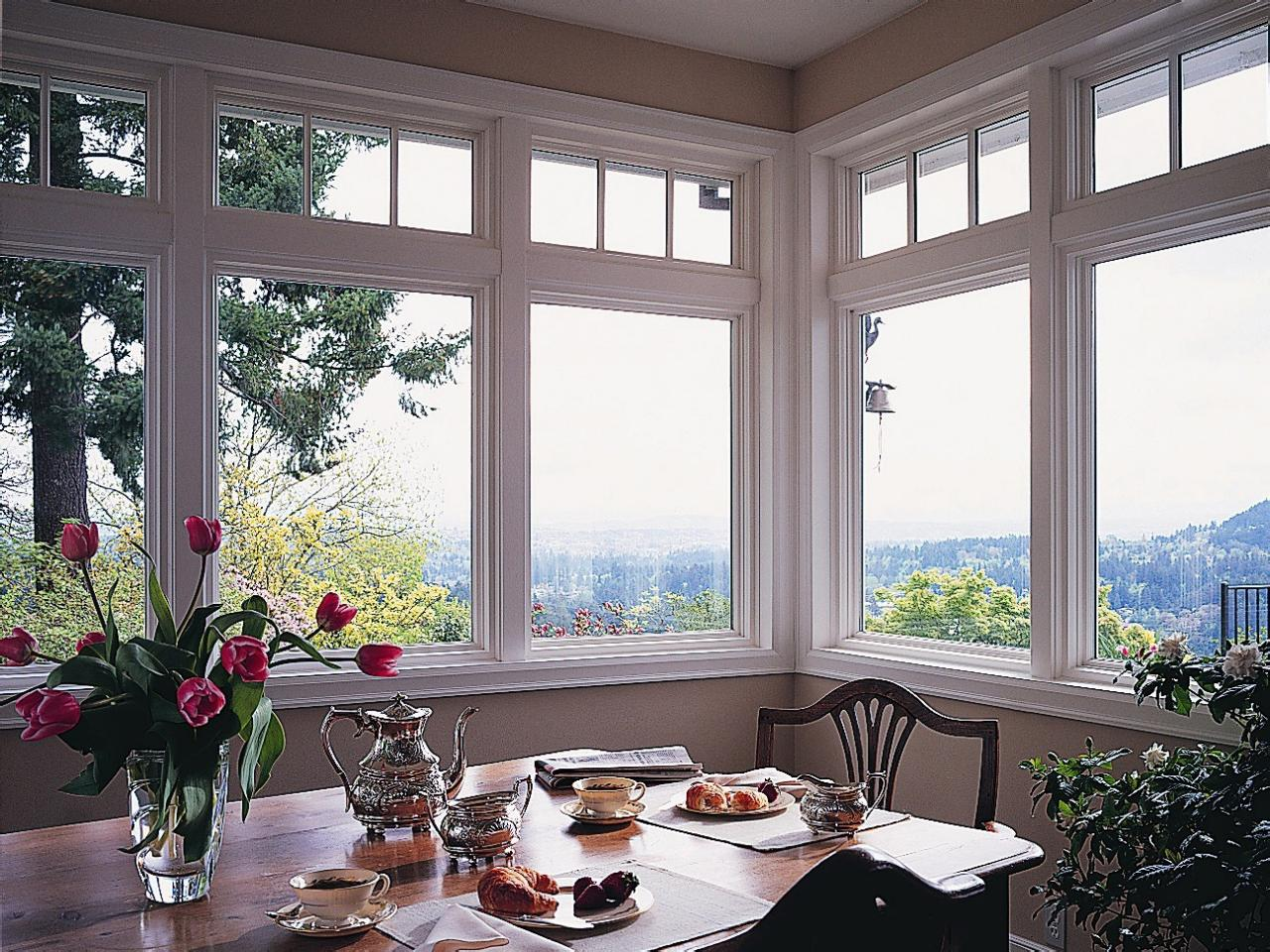white pella windows matched with tan wall plus wooden dining table for dining table decor ideas