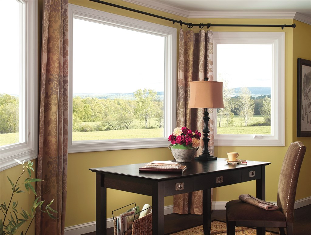 White Pella Windows Matched With Yellow Wall Plus Floral Curtain Ideas