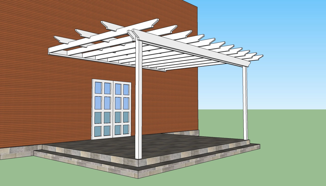 white Pergola Plans on teracce ideas with brown wall and white door