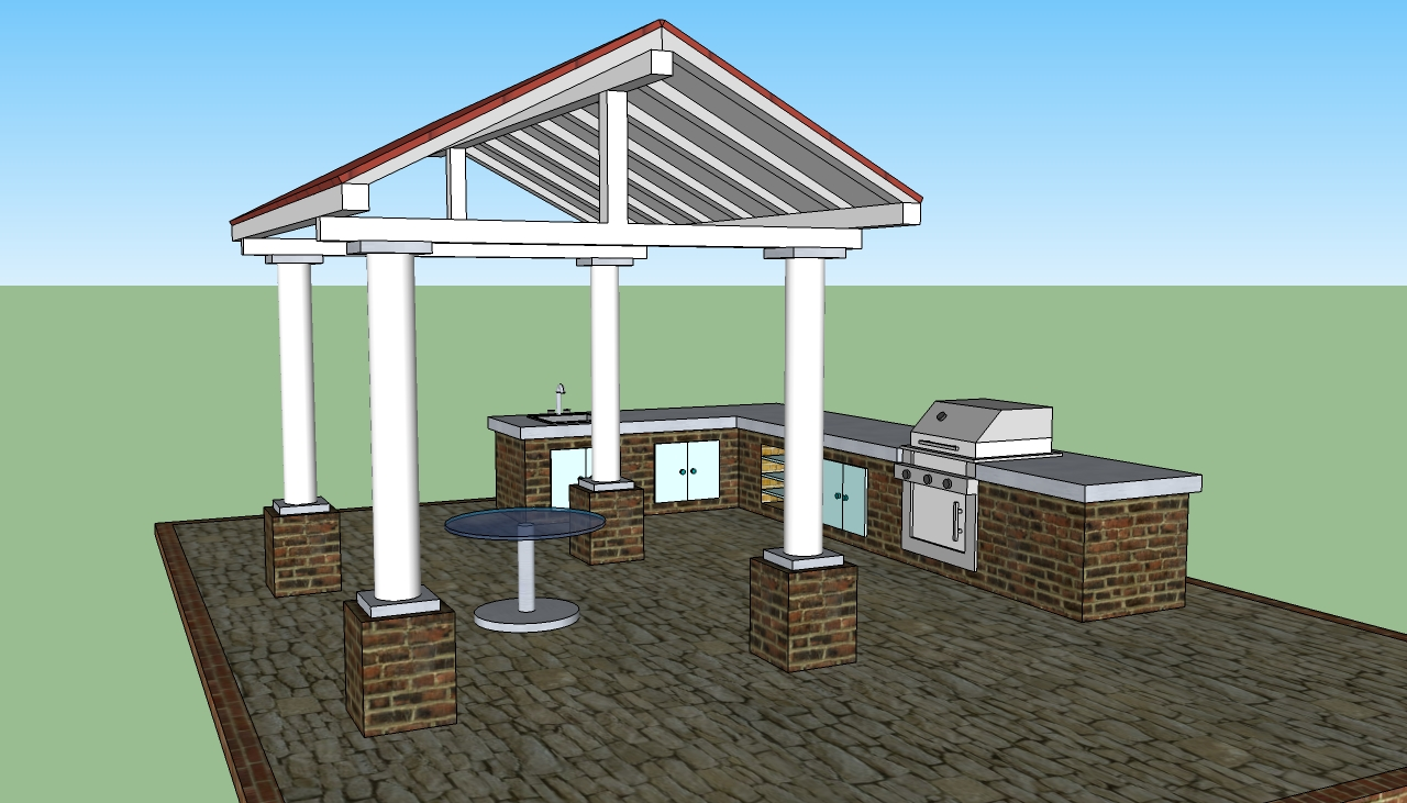 white pergola plans with red roof ideas with table on center plus outdoor kitchen