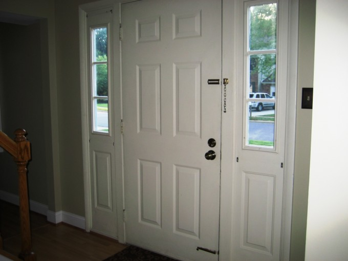 White Reliabilt Doors With Doorknob Handle Matched With Olive Wall And Wooden Floor Ideas